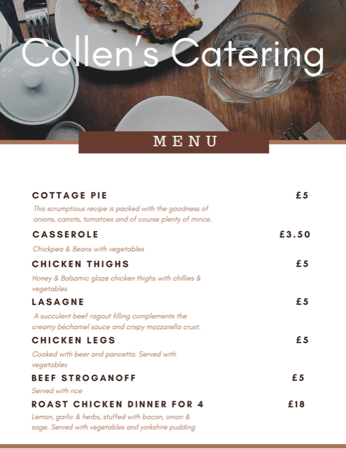 Collen's Catering Menu
